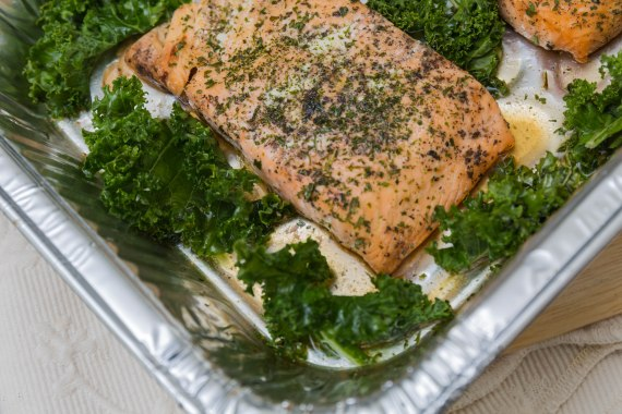 Miss Lou oven-baked pink salmon