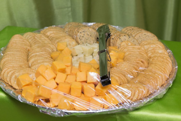 Variety crackers and cheeses