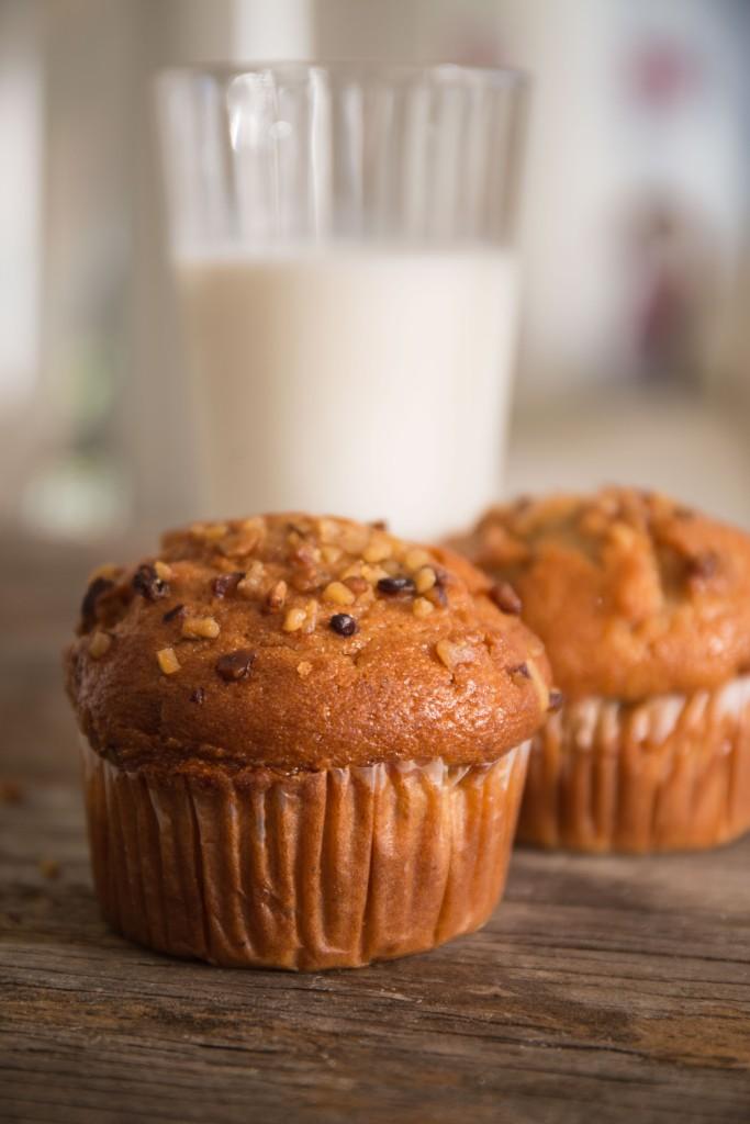 Banana nut muffins and milk @photopincher.com