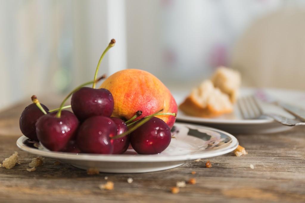 Cherries and peach