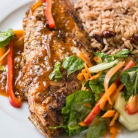 Jamaican rice and peas with escovitch fish