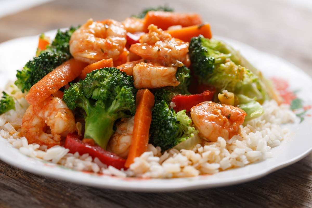 Shrimp And Broccoli Over White Rice