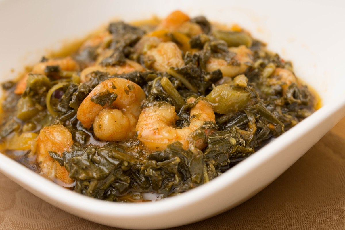 Jamaican Steamed Callaloo with Shrimp