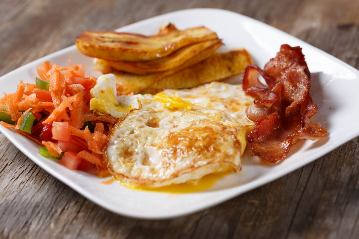 Bacon and Eggs with Fried Plantains