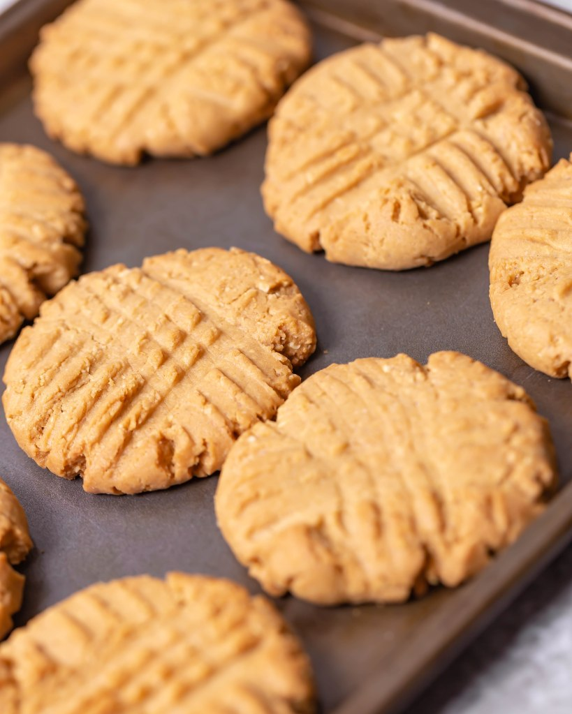 Peanut butter cookies with peanut chunks.