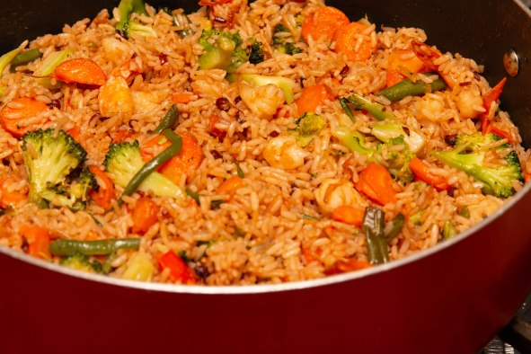 Veggie fried rice made from left-over Jamaican rice and peas.