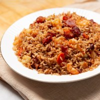 Best Jamaican fried rice with bacon  and shrimp