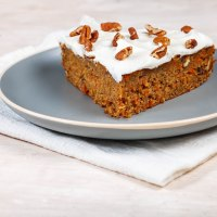 Vegan carrot cake with banana and pecans