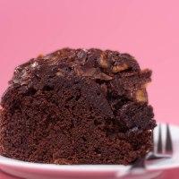 Mayo chocolate cake with walnut topping